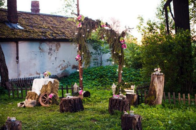 Оформление свадьбы в стиле рустик фото