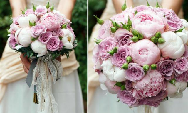 Свадебный букет с розами и пионами