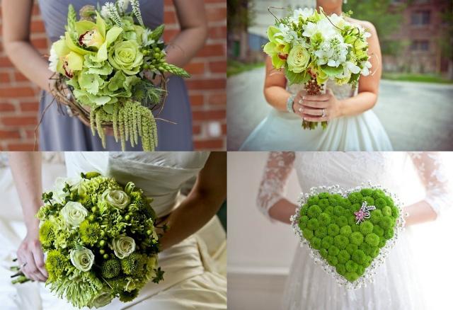 Зеленый букет невесты