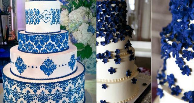 Бело-синие свадебные торты