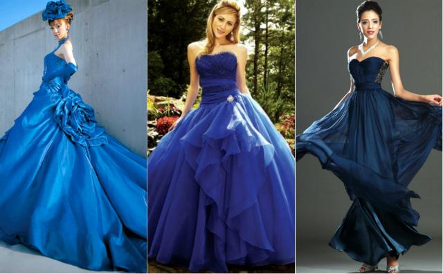 Синие свадебные платья фото