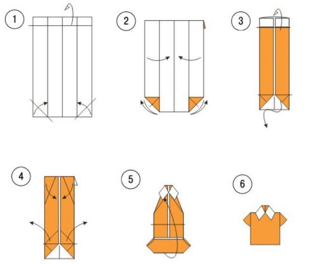 Схема изготовления рубашки-оригами