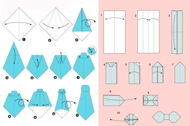 Схема изготовления галстука-оригами