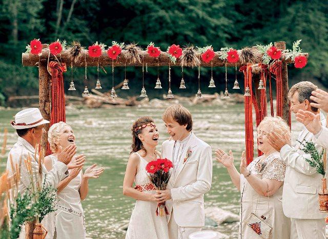 Свадьба в русском народном стиле летом