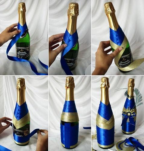 9 способов украсить бутылку для новогоднего стола