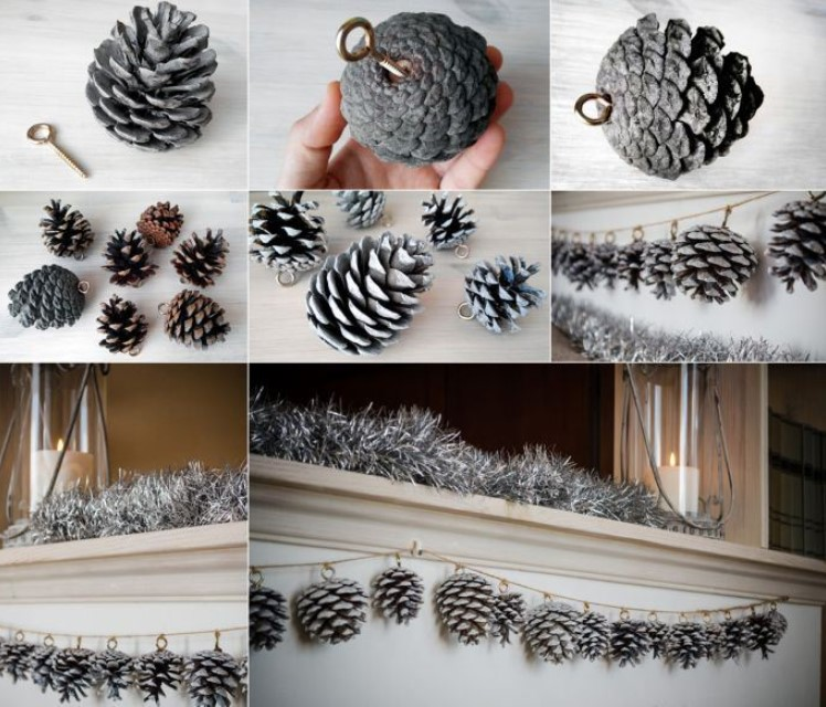 Новогодние украшения и поделки из шишек своими руками