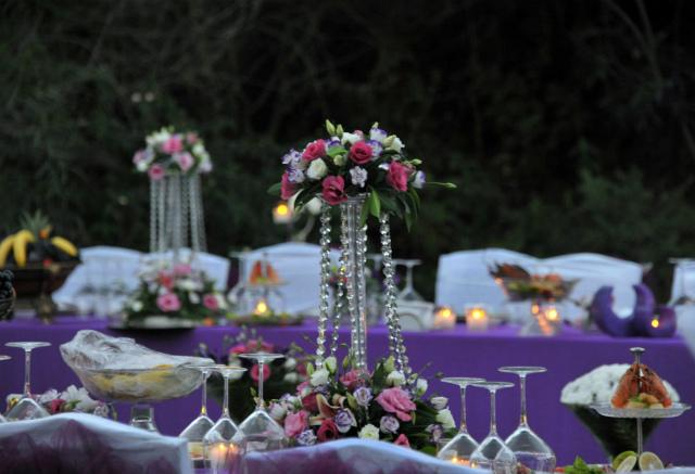 Оформление аметистовой свадьбы