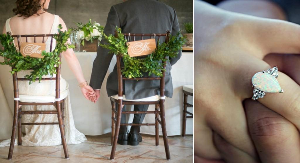 Жених и невеста на опаловой свадьбе