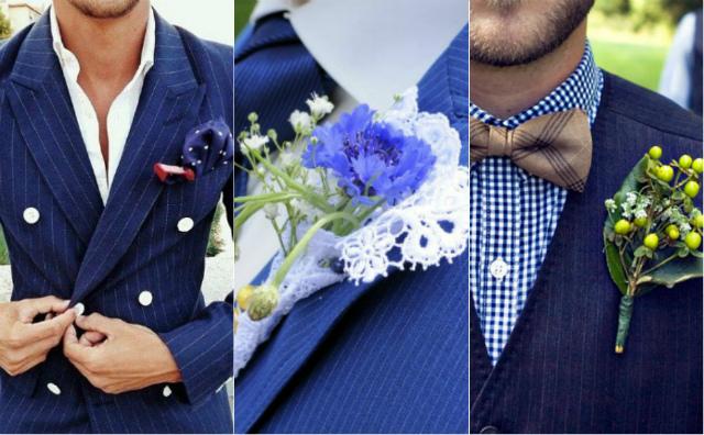 Синие мужские костюмы на свадьбу фото