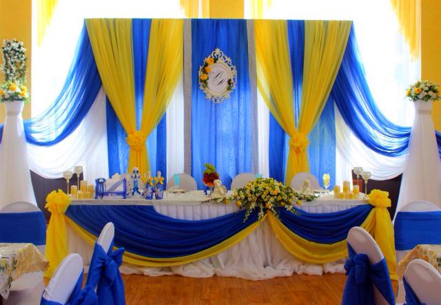 Свадьба в сине-бело-желтых тонах