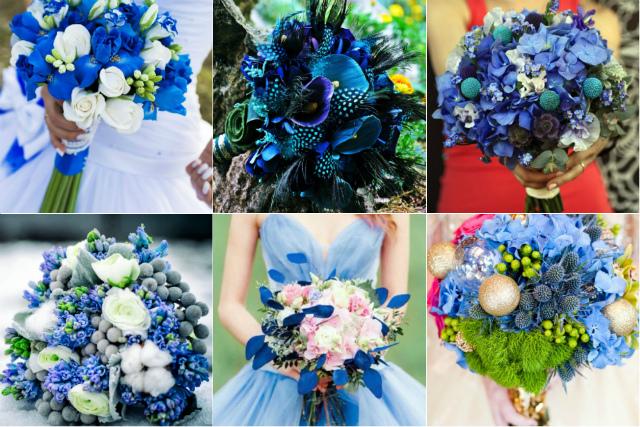 Свадебные букеты в синем цвете фото
