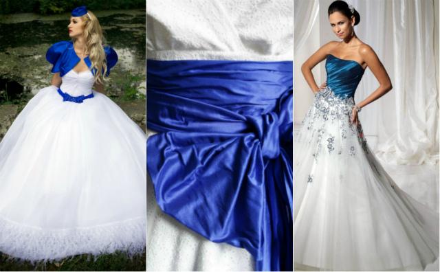 Бело-синие платья на свадьбу