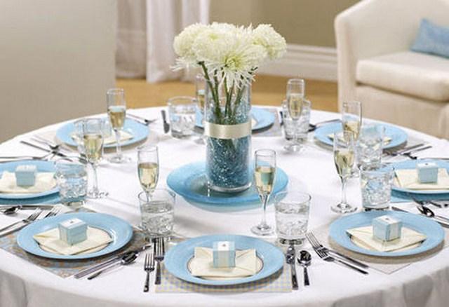 Льняная свадьба в синих тонах