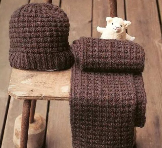 Подарок мужчине: вязаные шапка, шарф