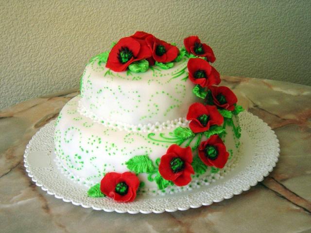 Торт на 8 лет свадьбы с маками