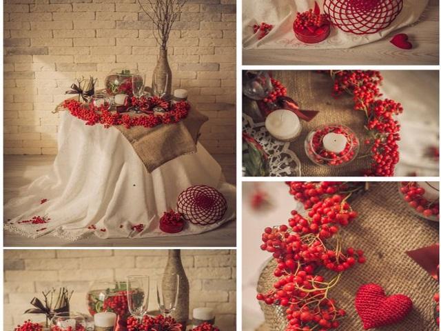 Украшаем свадьбу листьями, ветками, рябиной