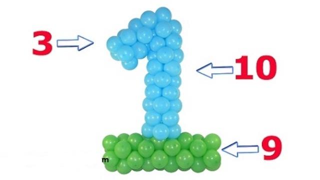 Цифра 1 из шаров