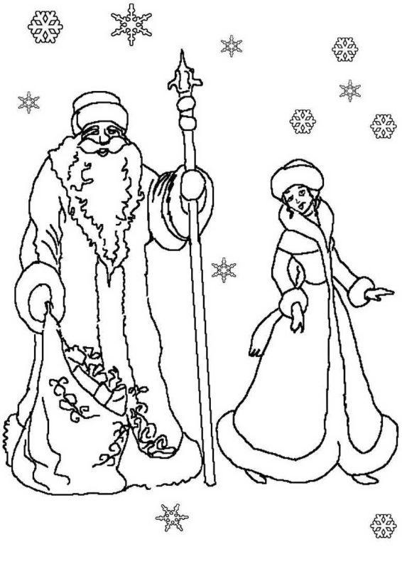 Смешные, новогодние картинки деда мороза и снегурочки распечатать