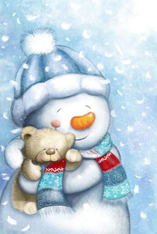 Днем рождения, снеговик на открытках с новым годом