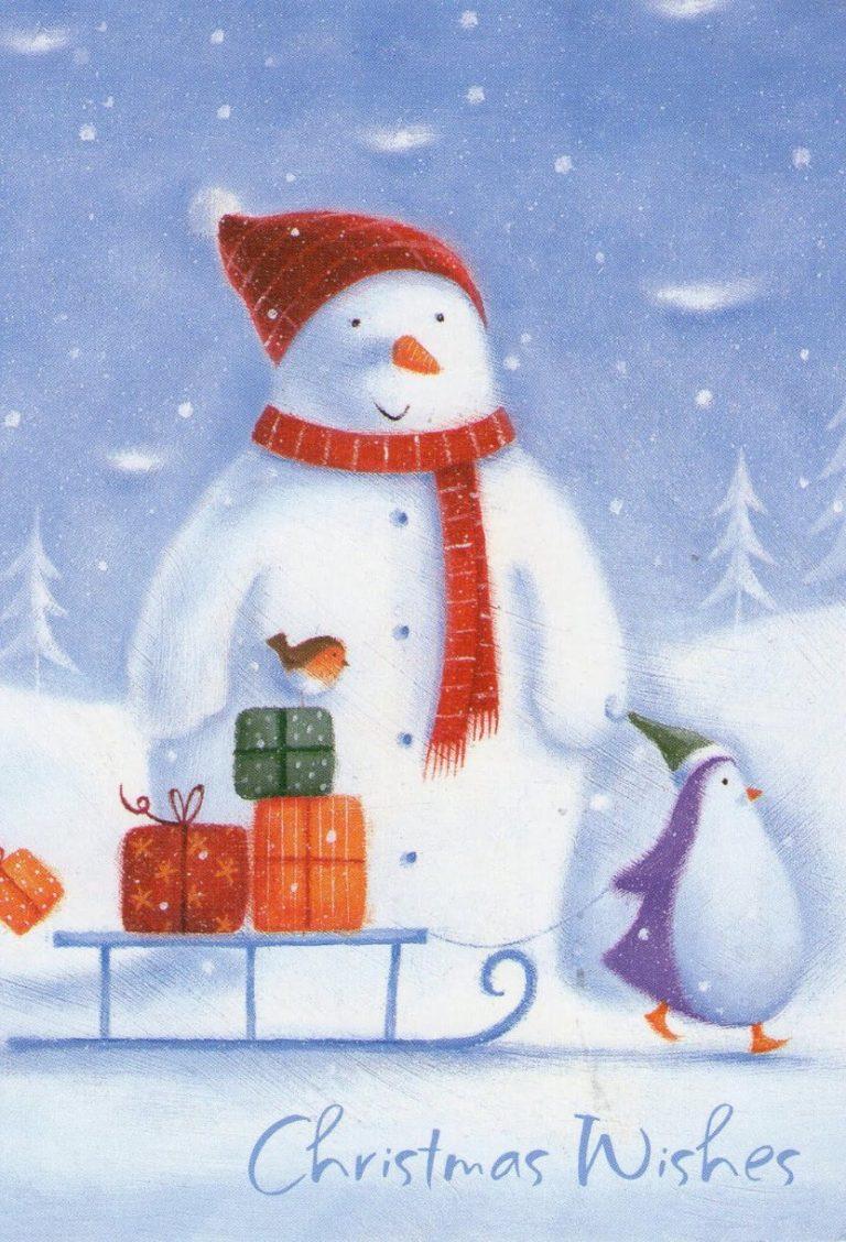 Новогодние открытки со снеговиками, открытки днем