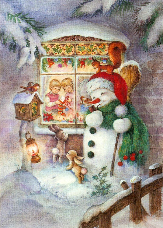 Зимние старинные открытки фото с животными снеговичок