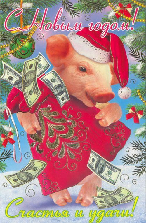 выбрать поздравительная открытка год свиньи вспышку